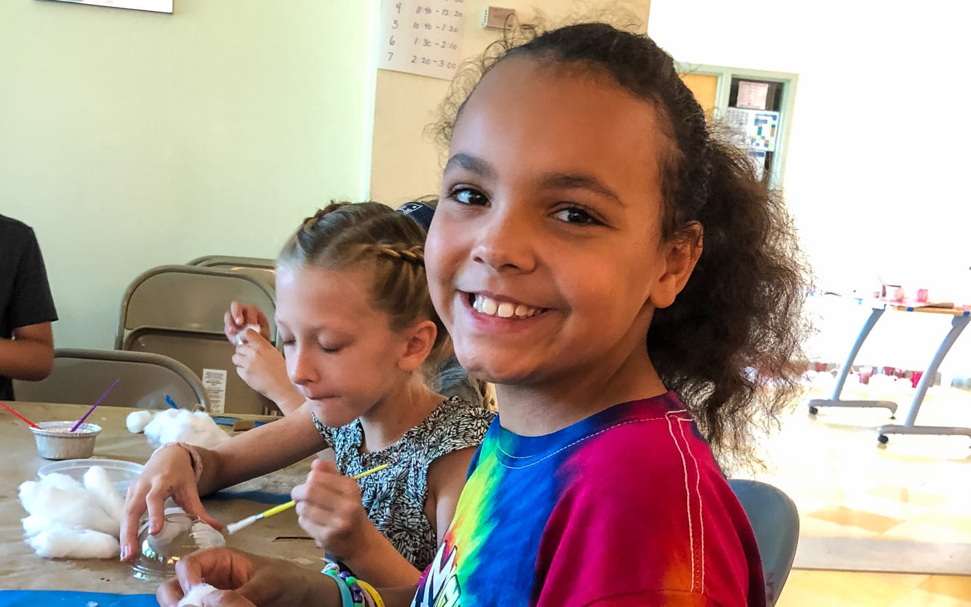 Girls at arts and crafts