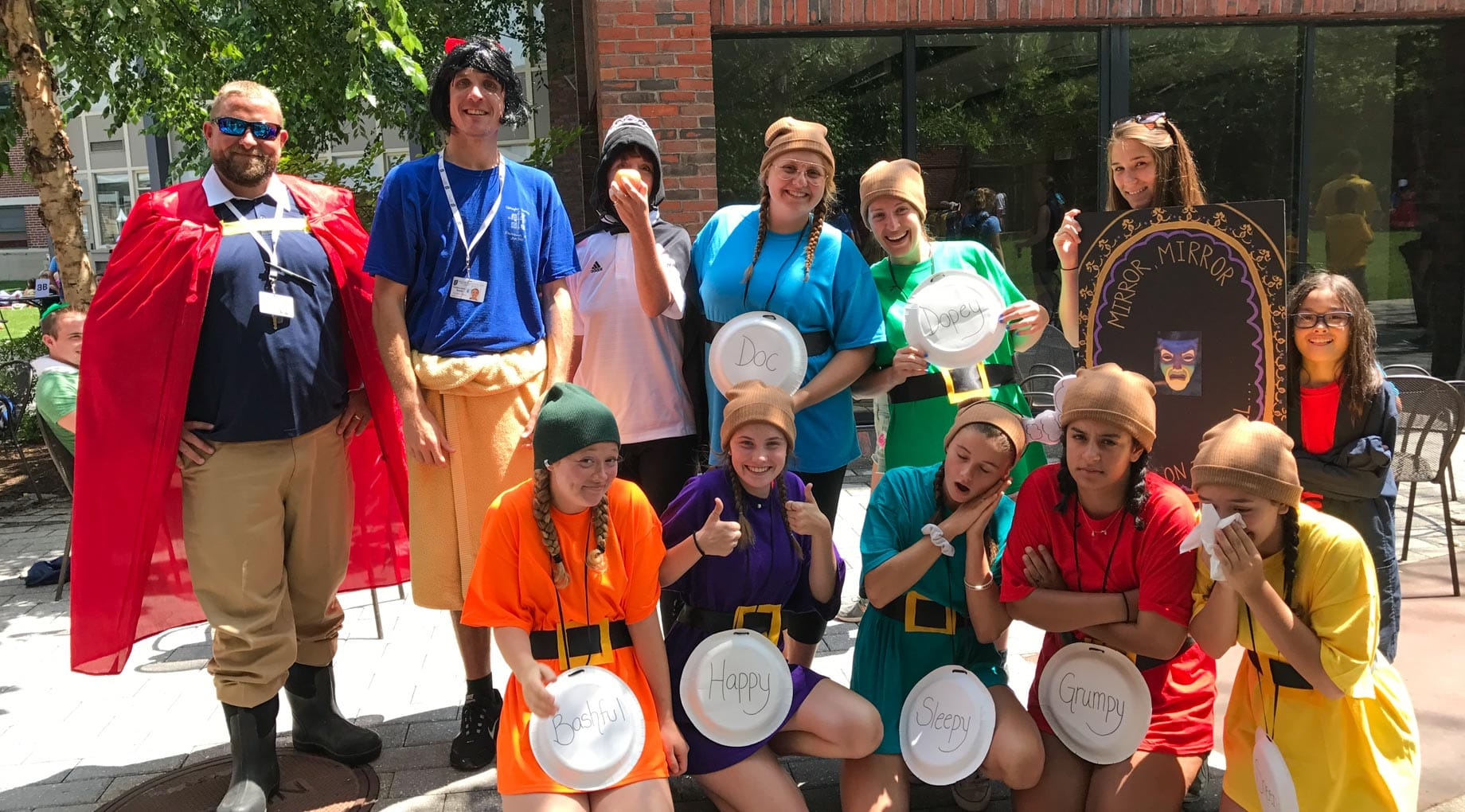 Campers and staff wearing Snow White costumes