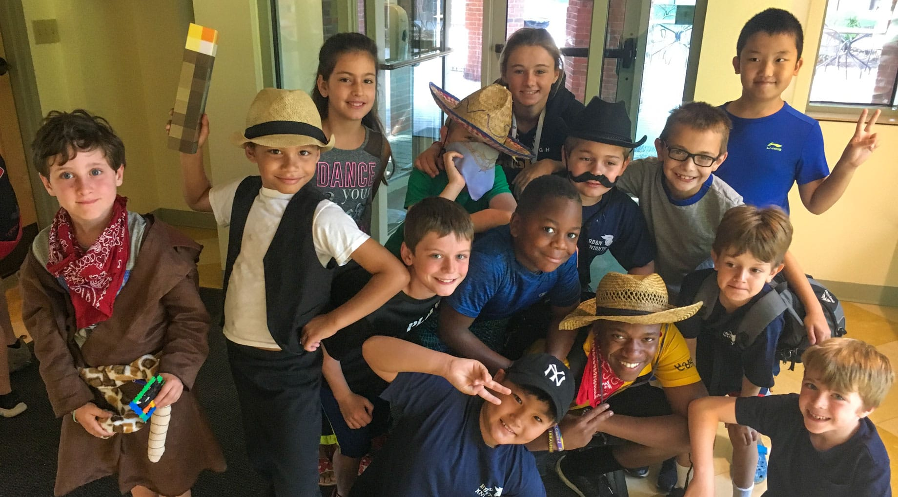 Campers wearing Western costumes
